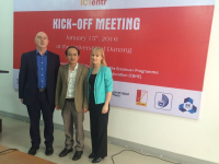 From the left, Prof. Thomas M. Cooney (DIT), Dr. Huynh Cong Phap (Vice Rector, UD-CIT) and Mrs. Nuala O'Brien (Embassy of Ireland)